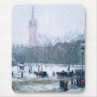 Snowstorm, Madison Square. Fine Art Gift Mousepad