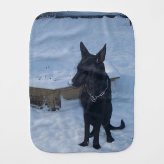 Snowy Black German Shepherd Baby Burp Cloths