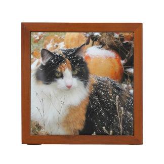 Snowy Calico Kitty and Harvest Pumpkin Desk Organiser