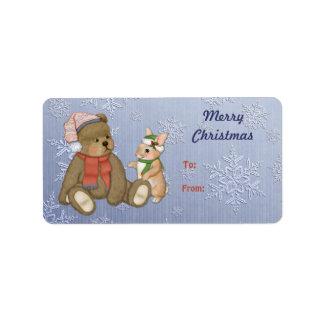 Snowy Christmas Teddy Bear & Bunny Address Label