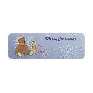 Snowy Christmas Teddy Bear & Bunny Return Address Label