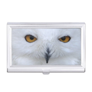 Snowy owl close up business card holder
