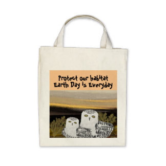 Snowy Owl Habitat Organic Grocery Tote Bags