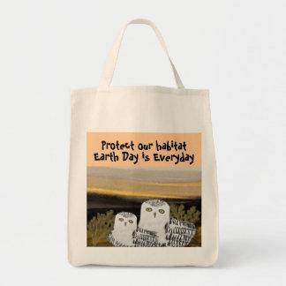Snowy Owl Habitat Organic Grocery Tote Grocery Tote Bag