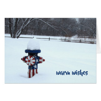 Snowy Patriotic Fire Hydrant Card
