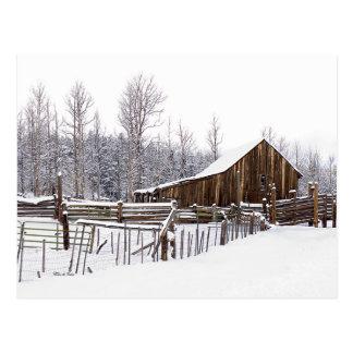 Snowy Rural Barn Scene Photograph Postcard