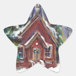 Snowy Wintry country church christmas scene Star Stickers