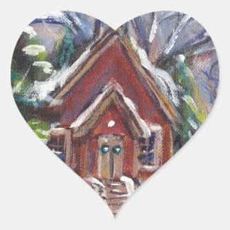 Snowy Wintry country church christmas scene Sticker