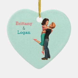 So in Love: A Cute Romance (Personalized) Ceramic Heart Decoration