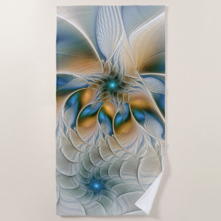 Soaring, Abstract Fantasy Fractal Art With Blue Beach Towel