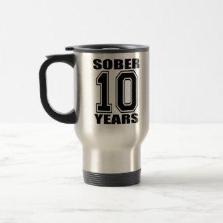 Sober 10 Years Black on White Stainless Steel Travel Mug