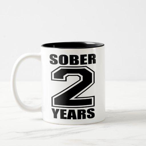 Sober 2 Years Black on White Coffee Mug
