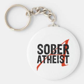 Sober Atheist Basic Round Button Key Ring