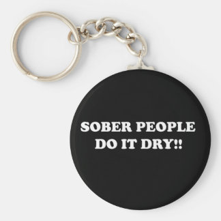sober basic round button key ring