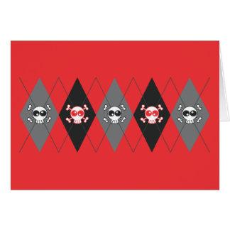 Sobieski Skull Argyle Red Greeting Card