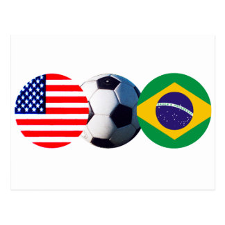 Soccer Ball Brazil & USA Flags The MUSEUM Zazzle Post Cards