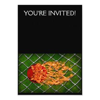 Soccer ball on fire 13 cm x 18 cm invitation card