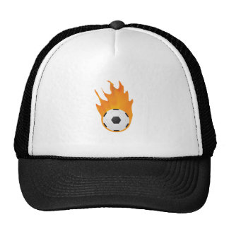 Soccer ball on fire trucker hat