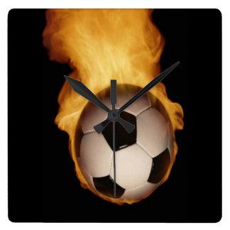 Soccer Ball on Fire Wall Clock