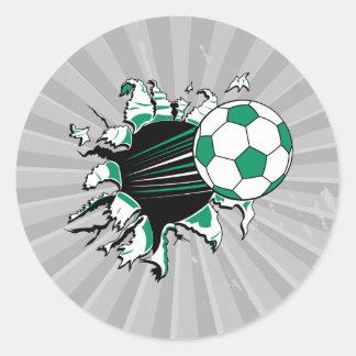 soccer ball ripping thru round sticker
