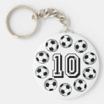 SOCCER BALLS AND NUMBER 10 KEYCHAIN
