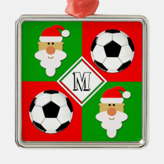 Soccer Balls & Santa Clause Custom Player Initial Christmas Ornament