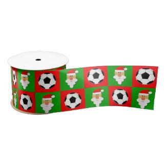 Soccer Balls & Santa Clause Cute Christmas Ribbon Satin Ribbon