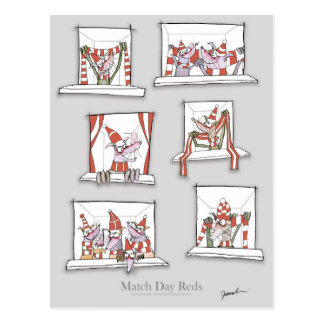 soccer dogs match day reds postcard