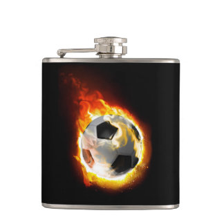 Soccer Fire Ball 6 oz Vinyl Wrapped Flask