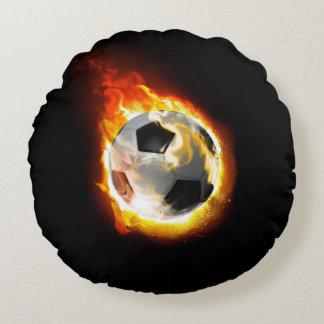 Soccer Fire Ball Round Pillow