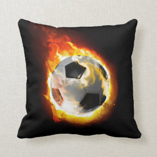 Soccer Fire Ball Throw Pillow