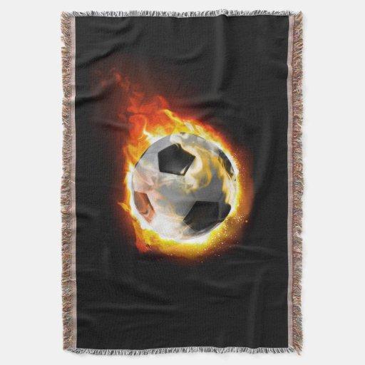 Soccer Fire Ball Woven Throw Blanket