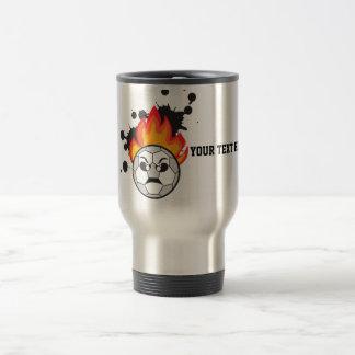Soccer football ball on fire stainless steel travel mug