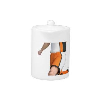 Soccer Player in Orange,Black,and White