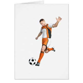 Soccer Player in Orange,Black,and White Greeting Card