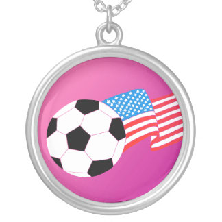 Soccer Round Pendant Necklace
