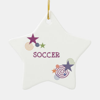 Soccer Swirls and Stars Christmas Ornament