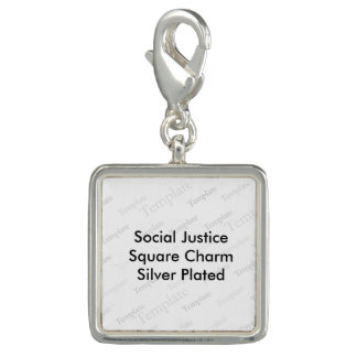 Social Justice Square Charm  Silver Plated