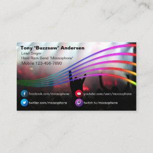 Rock band business cards zazzle nz social media rock band concert photo musician business card colourmoves
