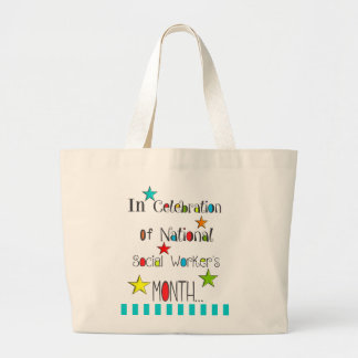 Social Worker Appreciation Month With Stars Large Tote Bag