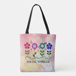Social Worker, Graphic Flowers Design Tote Bag