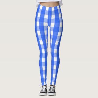 Socialite Blue Gingham Pattern Leggings