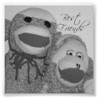 "Sock Monkey ""Best Friends"" Square Photo Print"