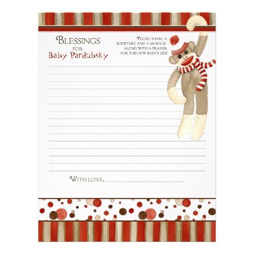 Sock Monkey, Boy Baby Shower Blessings Custom Flyer