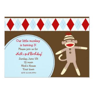 Sock Monkey Custom Birthday Party Invitaitons 13 Cm X 18 Cm Invitation Card