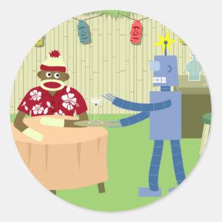 Sock Monkey Robot Waiter Classic Round Sticker