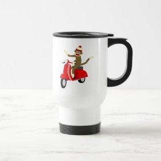 Sock Monkey Scooter Travel Mug
