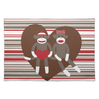 Sock Monkeys in Love Valentine's Day Heart Gifts Placemat