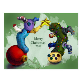 Sock Monster Christmas Card Postcard