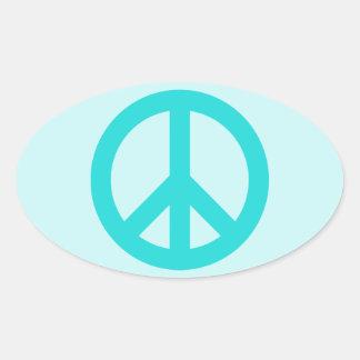 Soft Aqua Peace Symbol Oval Sticker